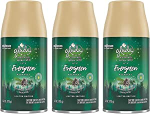 Glade Automatic Spray Refill - Limited Edition Holiday Collection - ICY Evergreen Forest - Net Wt. 6.2 OZ (175 g) Per Refill Can - Pack of 3 Refill Cans