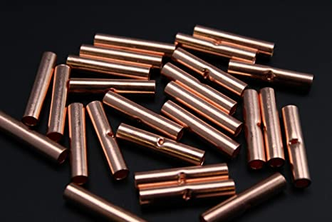 8 Gauge Copper Butt Connector 10 PK Crimp Butt Connector Terminal AWG Battery CUR8