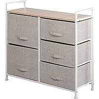 DlandHome Armario de almacenaje Cómoda Estantería de Metal con 5 cajones/Cajas de…
