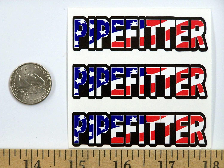 "3 Pipefitter US Flag Hard Hat//Helmet Stickers 1/"" x 2/"" H145"