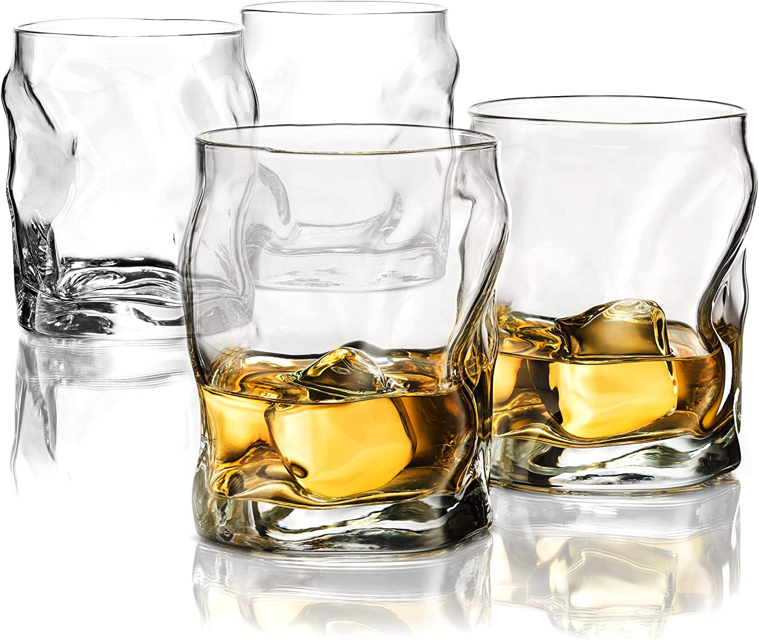 Double Old Fashioned Whiskey Glasses (Set of 4) Whiskey Glass Set, 14.¼ Ounce Crystal Clear Cocktail Glasses Barware For Whisky, Bourbon, Scotch, Water, Juice, Rock Glasses Drinking Glasses Set.