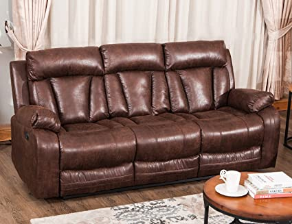 Harper&Bright Designs Sectional Recliner Sofa Set Living Room Reclining  Couch (3-Seater Sofa, Brown)