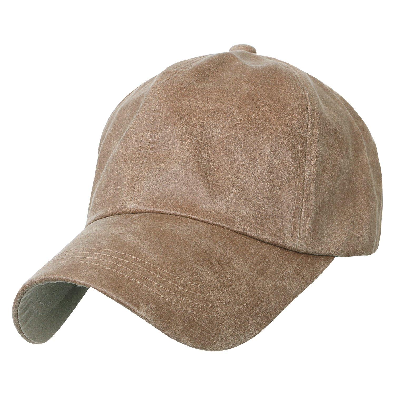 01f33465a5211 ililily Waxed Cotton Baseball Cap Strap Back Adjustable Casual Trucker Hat