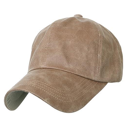 ililily Waxed Cotton Baseball Cap Strap Back Adjustable Casual Trucker Hat 61ee01ff21ea