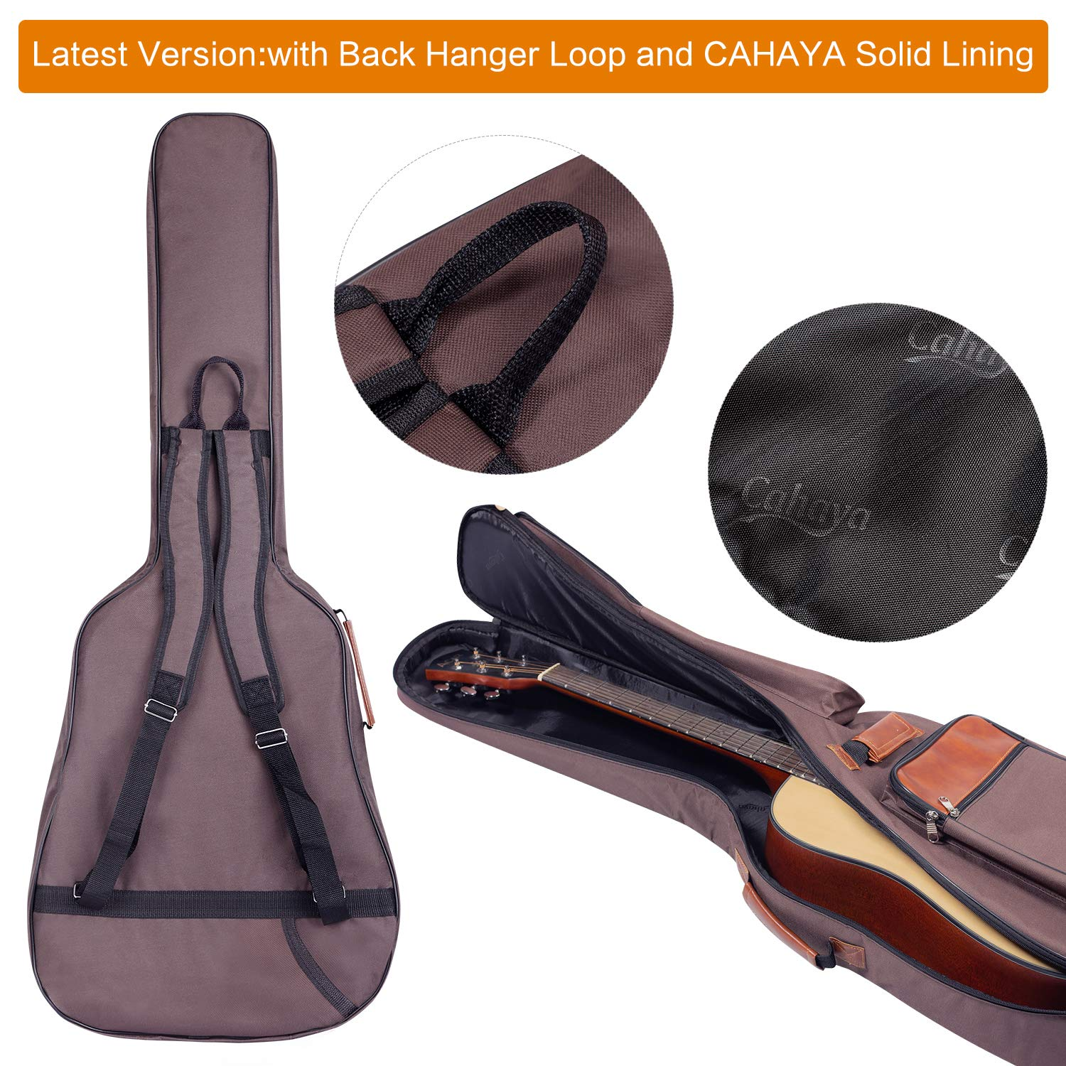 CAHAYA Guitar Bag 40 41 42 Inches 6 Pockets [Upgraded Premium Version] Guitar Case Waterproof Oxford Cloth 0.5 Inch Extra Thick Sponge Overly Padded with 5 Picks & Holder for Acoustic Classical Guitar by CAHAYA (Image #2)