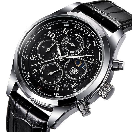Para hombre relojes marca de lujo Fashion Business Cuarzo Reloj Hombre Sport correa de piel resistente