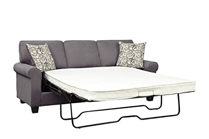 Homelegance 9938GY-3SL Selkirk Fabric Queen Sleeper Sofa with Accent Pillows, Gray