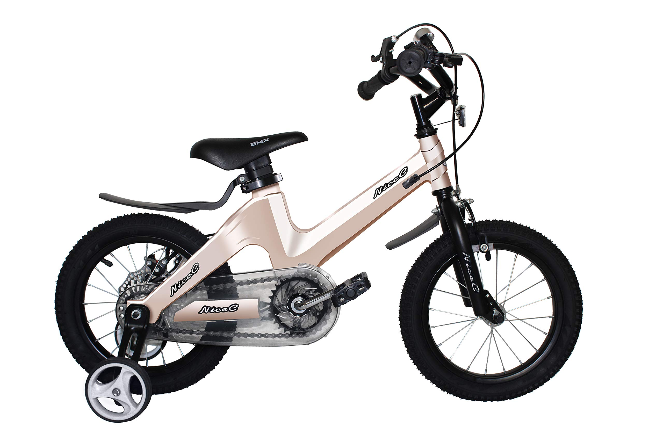 Nice C BMX Kids Bike with Dual Disc Brake for Boy and Girl 12-14-16-18 inch Training Wheels (14'' Champagne)