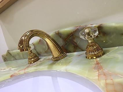 Widespread Bathroom Lavatory Sink Faucet Crystal Handles Mixer Tap Gold  Clour