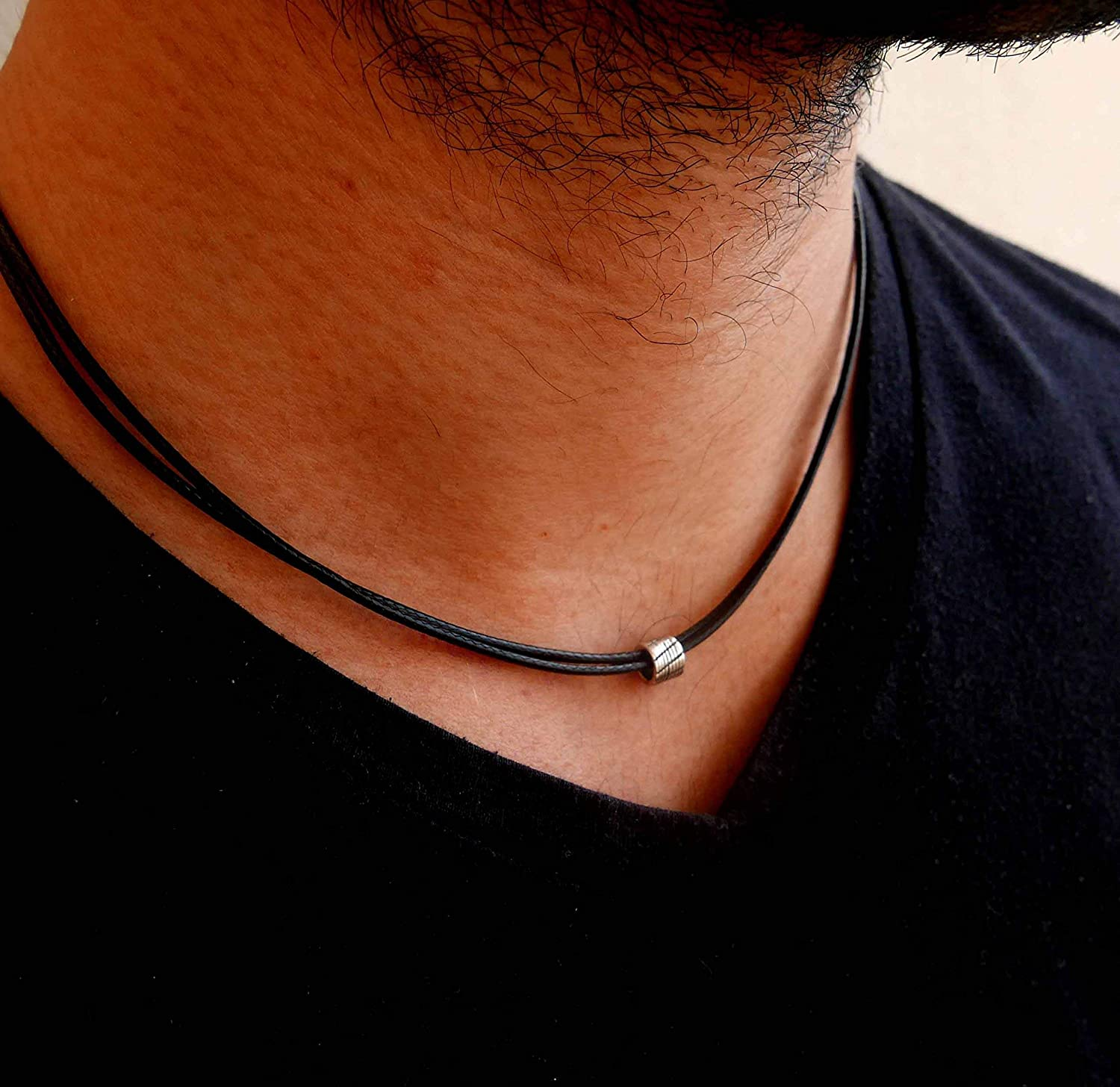 Handmade Black Fabric Necklace For Men Set With a Stainless Steel Bead By Galis Jewelry - Black Necklace For Men - Choker Necklace For Men - Jewelry For Men