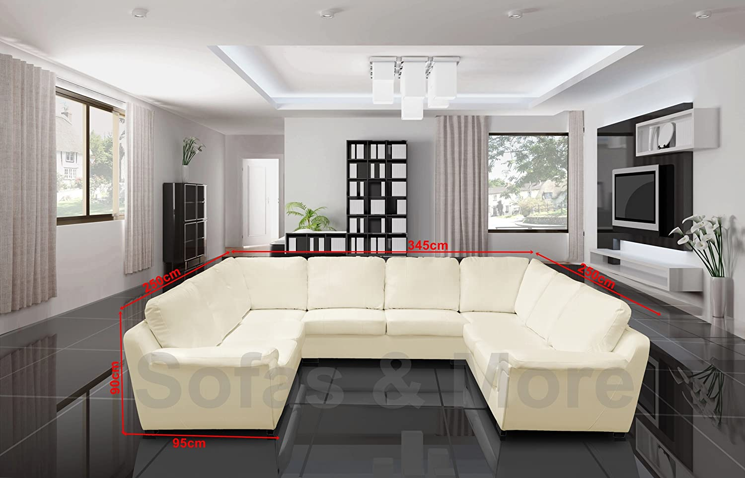 Miraculous Amy Faux Leather Big U Shape Corner Sofa Black White Brown Cream White Unemploymentrelief Wooden Chair Designs For Living Room Unemploymentrelieforg