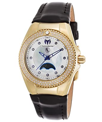 Technomarine Tm-416023 Womens Eva Longoria Diamond Black Gen. Leather Mop Dial Gold-
