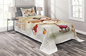 Ambesonne Christmas Coverlet, Skating Happy Snowman with Christmas Tree Cheerful Hand Drawn Ornate Snowflakes, 2 Piece Decorative Quilted Bedspread Set with 1 Pillow Sham, Twin Size, Beige White