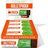 Chocolate Dipped Protein Bars, Coconut, 7g Protein, 12 Pack, Bulletproof Grass Fed Healthy Snacks, Made with Collagen and MCT