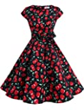 Dressystar Vintage 1950s Polka Dot and Solid Color Prom Dresses Cap-sleeve