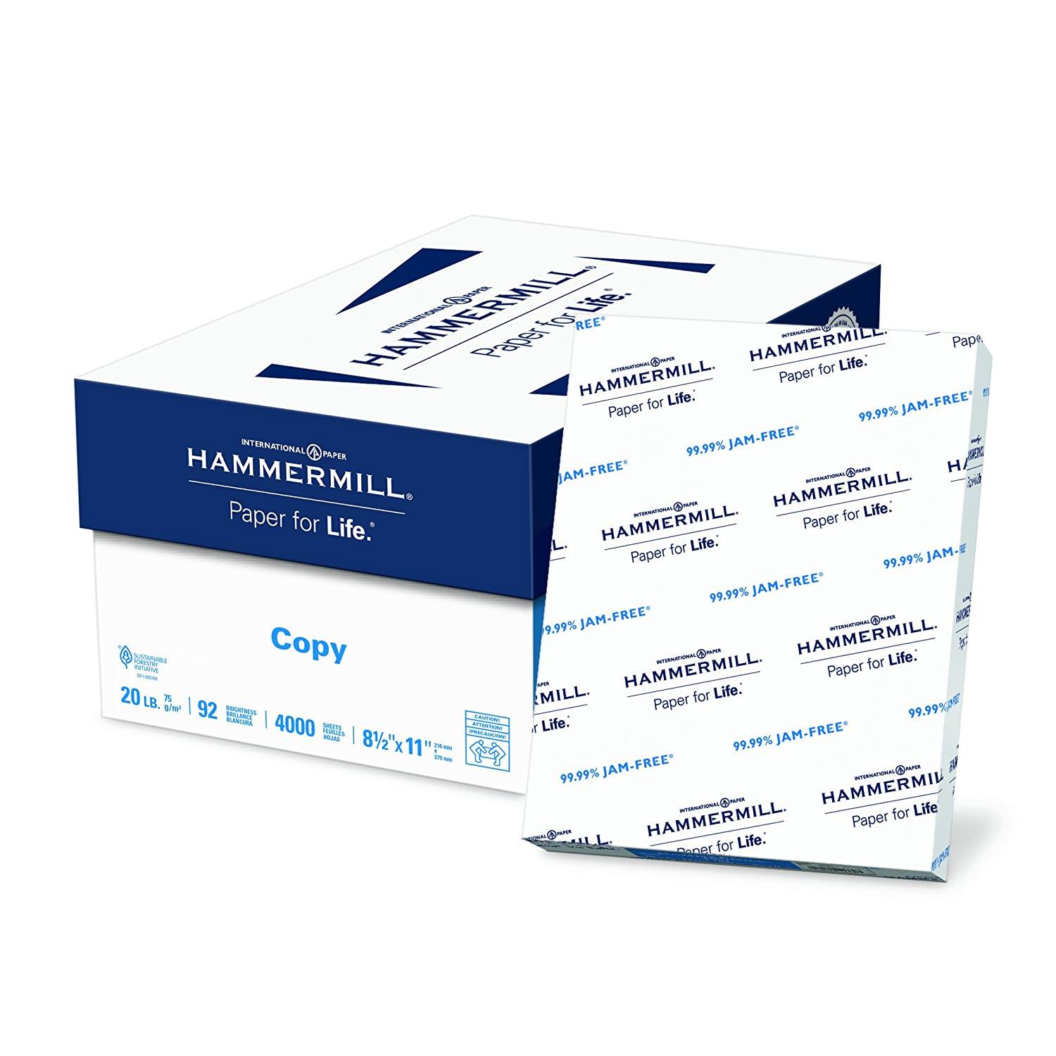 Hammermill Paper, Copy, 20lb, 8.5 x 11, 92 Bright, Letter, 1,500 Sheets / 3 Reams, (113620), Made in The USA International Paper (Office)