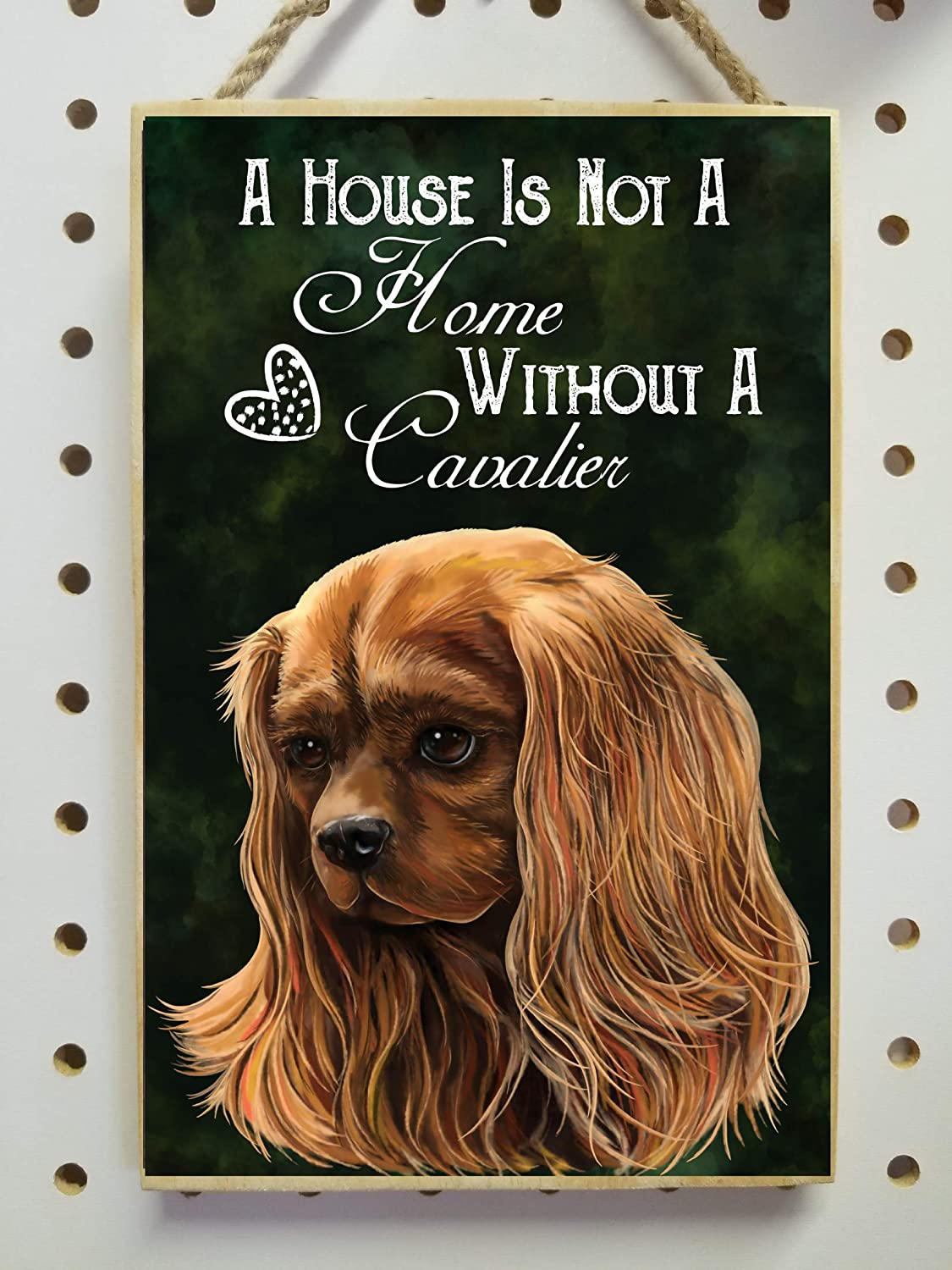 Amazon.com: Cavalier King Charles Spaniel gifts, Ruby Red Cavalier, Wooden Plaque, Sign - A House Is Not A Home Without A Cavalier: Handmade