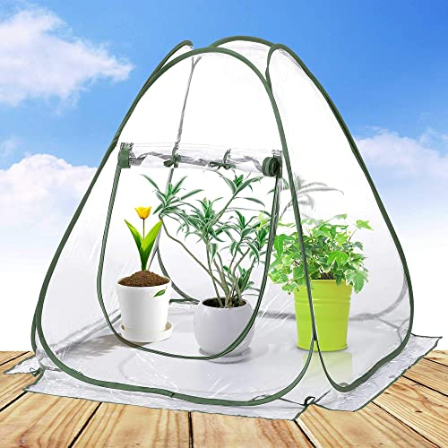 porayhut Pop Up Greenhouse Cover Flower House Mini Gardening Plant Flower Sunshine Room Room,Backyard PVC Greenhouse Cover for Cold Frost Protector Gardening Plants Small