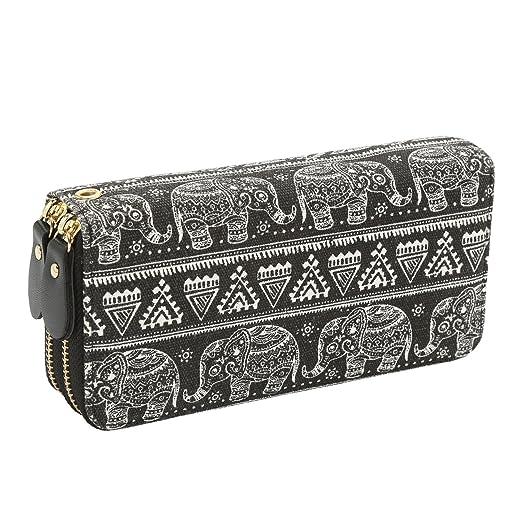 8259893f015f Women Wallet Zipper Around Bohemian Purse Canvas Wallet Elephant Pattern  Long Clutch Phone Card Handbag with