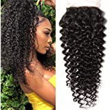 Klaiyi Hair Brazilian Curly Lace Closure 1PC 4x4 100% Unprocessed Human Hair Extensions Natural Color (14 inch free part closure)