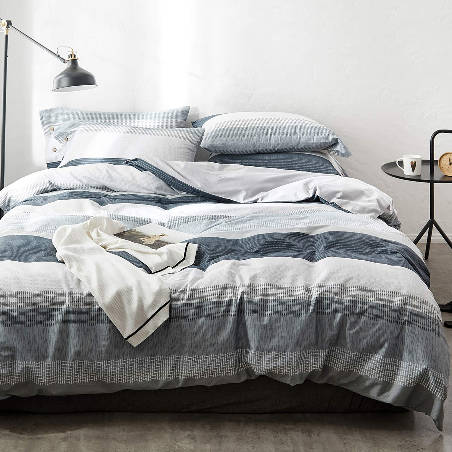 OREISE Duvet Cover Set King Size 100% Cotton Bedding Set Gray Blue White Printed Striped Style,3Piece (1 Duvet Cover + 2 Pillowcase),Comfortable Luxurious Hypoallergenic