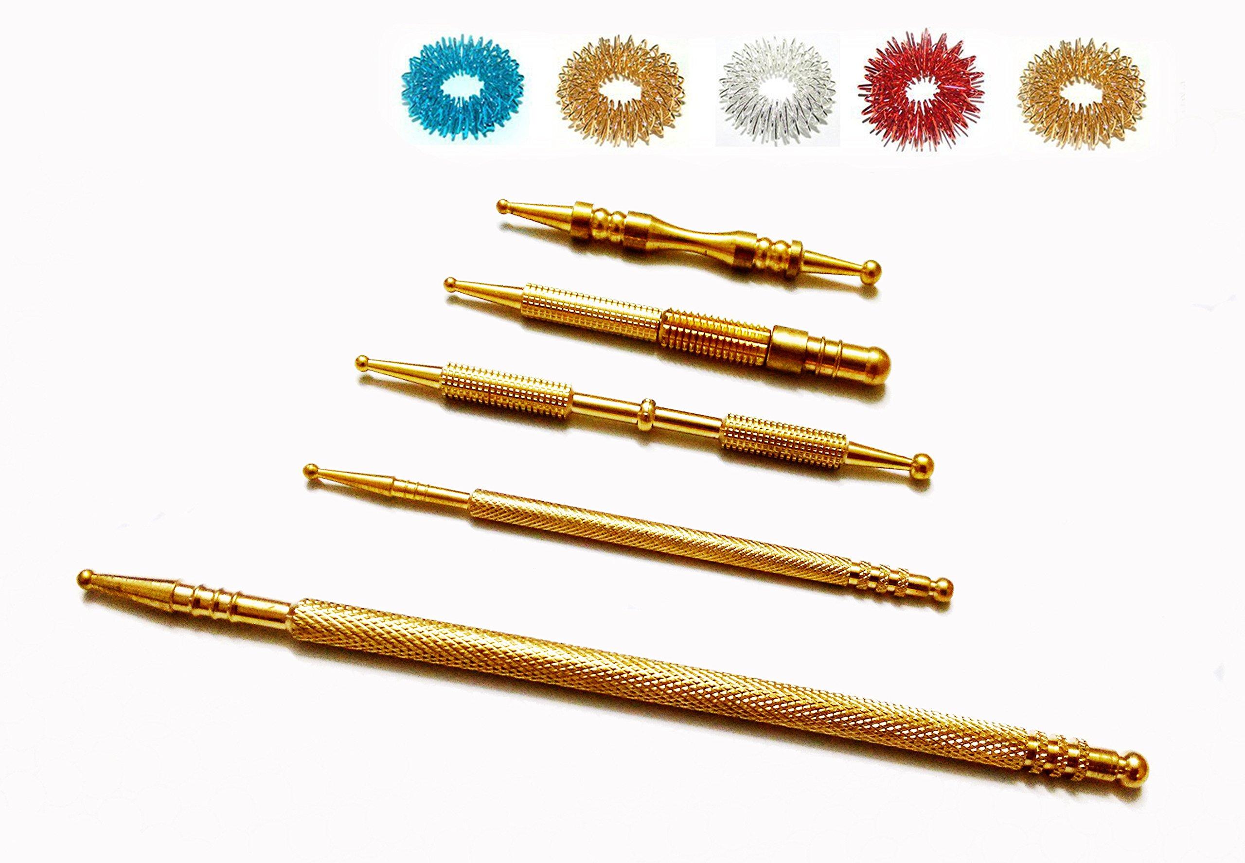 ACS / ACM Sujok Probe Acupressure Metal Brass Diagnostic Roller Jimmys Set 5 Types + 5pcs Rings Mega & Long Jimmy L - 15Cm, Dia - 0.6Cm, Slim Long L – 10Cm, Long Cut L – 9.6Cm Brass