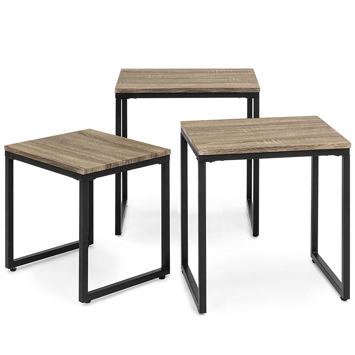 Best Choice Products 3-Piece Modern Stackable Nesting Coffee End Table Living Room Furniture Lounge Set - Brown