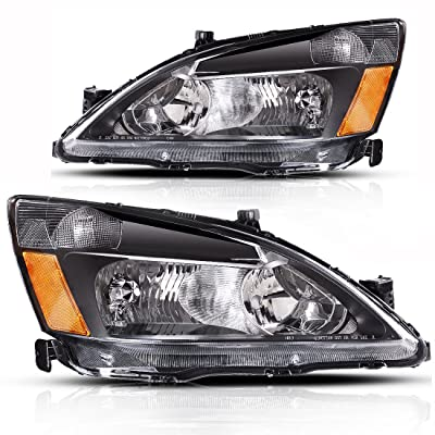 AUTOSAVER88 Compatible with 2003 2004 2005 2006 2007 Honda Accord Headlight Assembly OE Headlamp Replacement,Amber Reflector Black Housing: Automotive