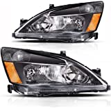 AUTOSAVER88 For 03 04 05 06 07 Honda Accord Headlight Assembly,OE Projector Headlamp Replacement,Amber Reflector Black Housing,One-Year Limited Warranty(Pair,HO2502120&HO2503120)