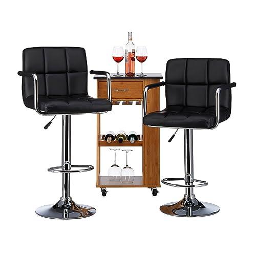 Relaxdays Tabouret de Bar avec accoudoir et Dossier Hauteur réglable pivotant Duke Lot de 2 HxlxP: 116 x 51 x 46 cm Chaise de Bar Cuisine, Noir