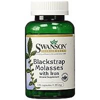 Swanson Blackstrap Molasses Elemental Iron (Ferrous Fumarate) 29 mg 120 Capsules