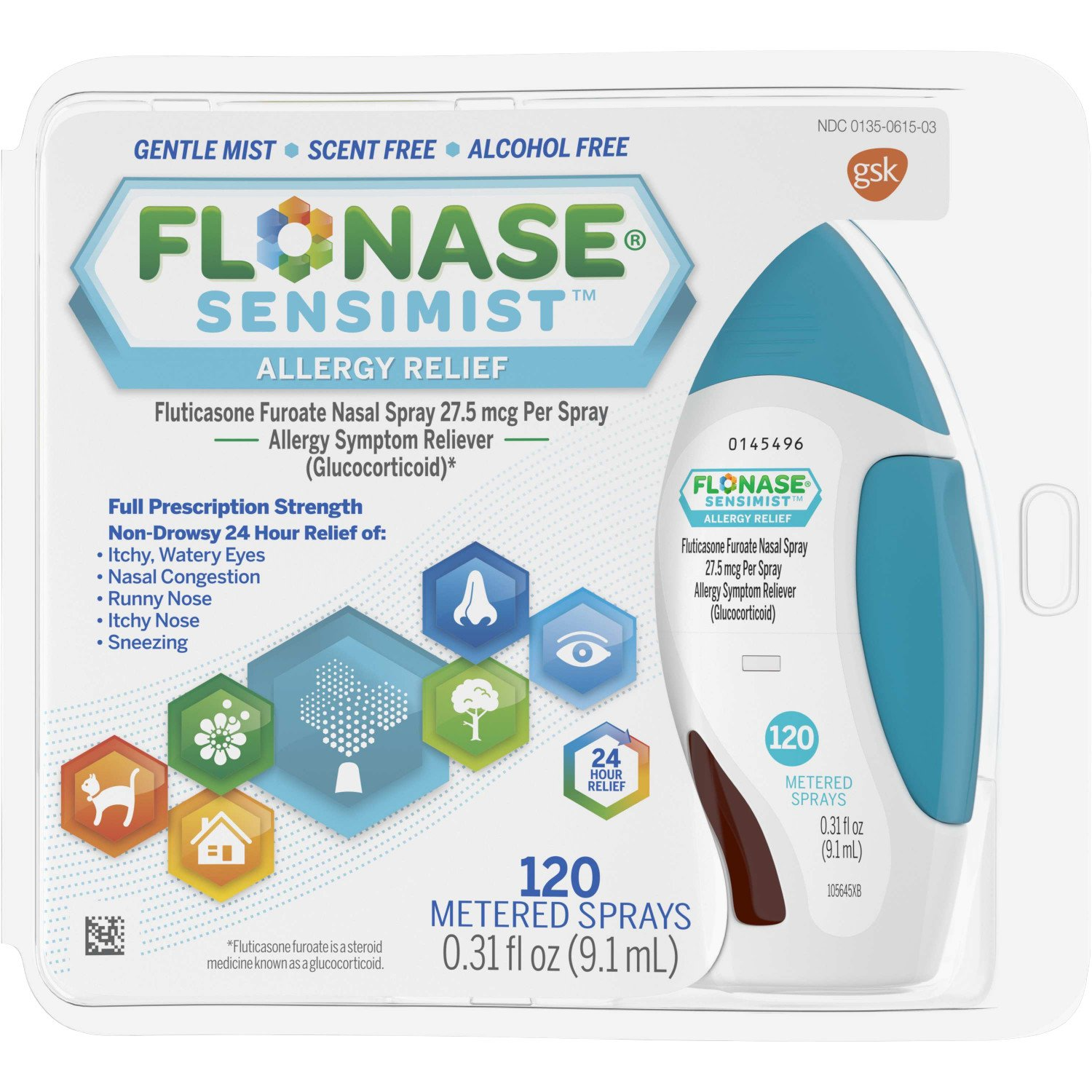 Flonase Sensimist 24hr Allergy Relief Nasal Spray, Gentle Mist, Scent-Free, 120 sprays