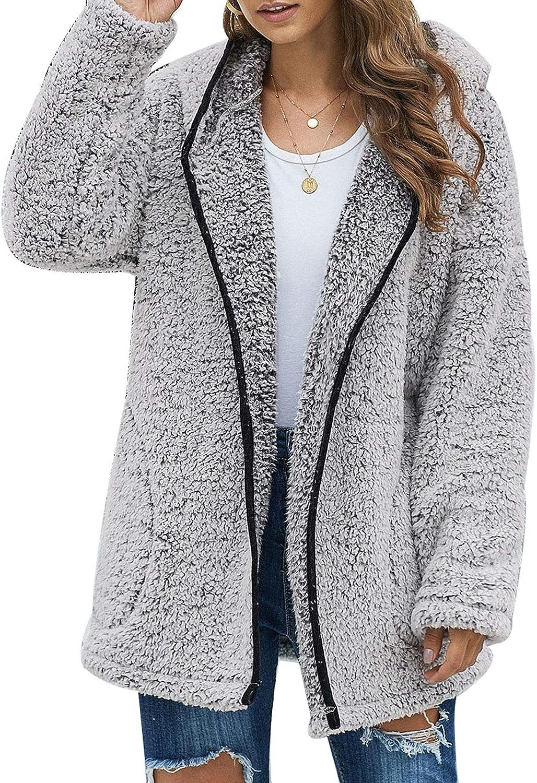 Les umes Womens Fleece Hooded Coats Full Zipper Soft Hoodies Cardigan Jacket Winter Fuzzy Outwear Coat with Pocket