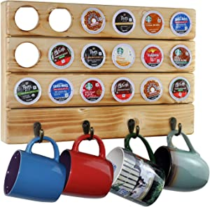 Spiretro Coffee Pod Organizer for keurig K-Cup Pods, Wall Mount Mug Holder by Metal Hooks, 18 Capsule Storage and 4 Mugs Hang for Kitchen, Dining, Coffee Room, Solid Pine Wood in Torched Natural Beige
