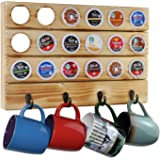 Spiretro Coffee Pod Organizer for keurig K-Cup Pods, Wall Mount Mug Holder by Metal Hooks, 18 Capsule Storage and 4 Mugs Hang