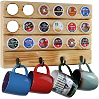 Spiretro Coffee Pod Organizer for K-Cup Pods, Wall Mount Mug Holder by Metal Hooks, 18 Capsule Storage and 4 Mugs Hang…