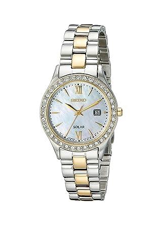 Amazon.com: Reloj Seiko para mujer SUT074 solar, con piedras ...