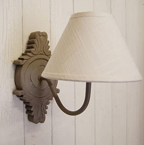 French Country Shabby Chic Grey Wood Wall Light With Cotton