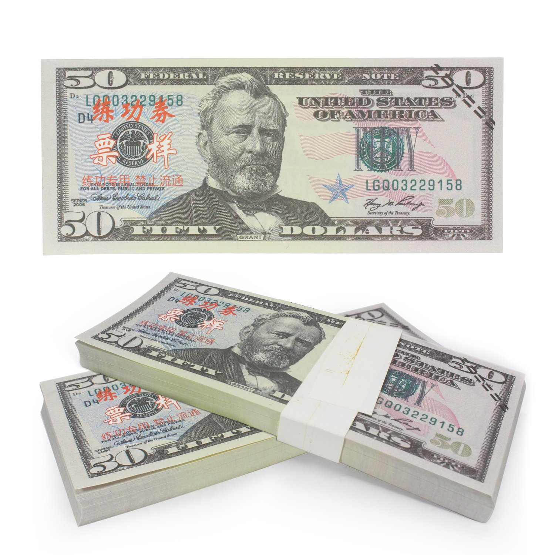 ELM Game Prop Money Play Money Pretend Dollar Bills $5,000 Full Print Money Copy of $50 Dollar Bills Stack, for Movie, TV, Videos, Pranks, Birthday Party, Play Board Games, Photography
