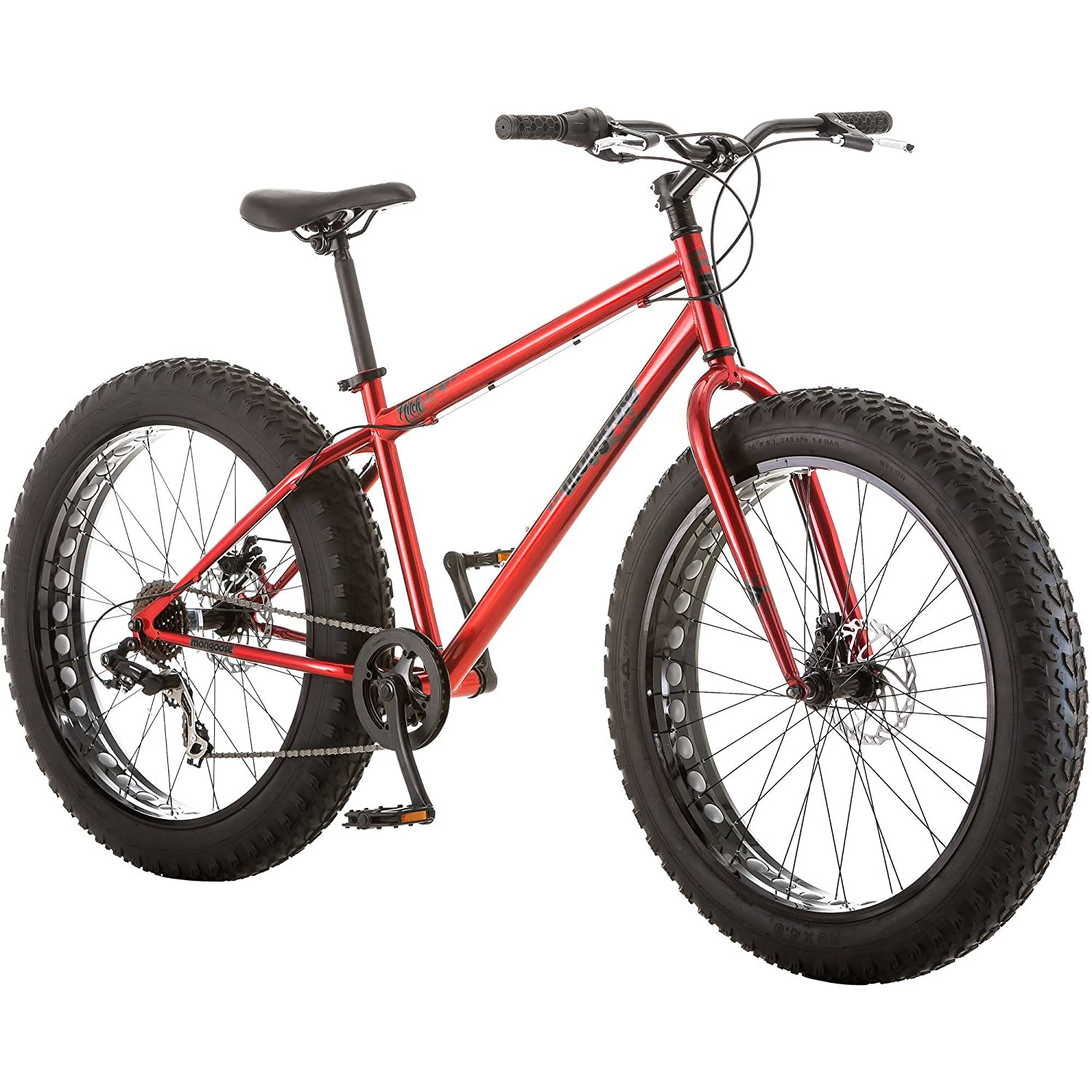 Amazoncom Mongoose Hitch Mens Fat Tire Bicycle Red 26