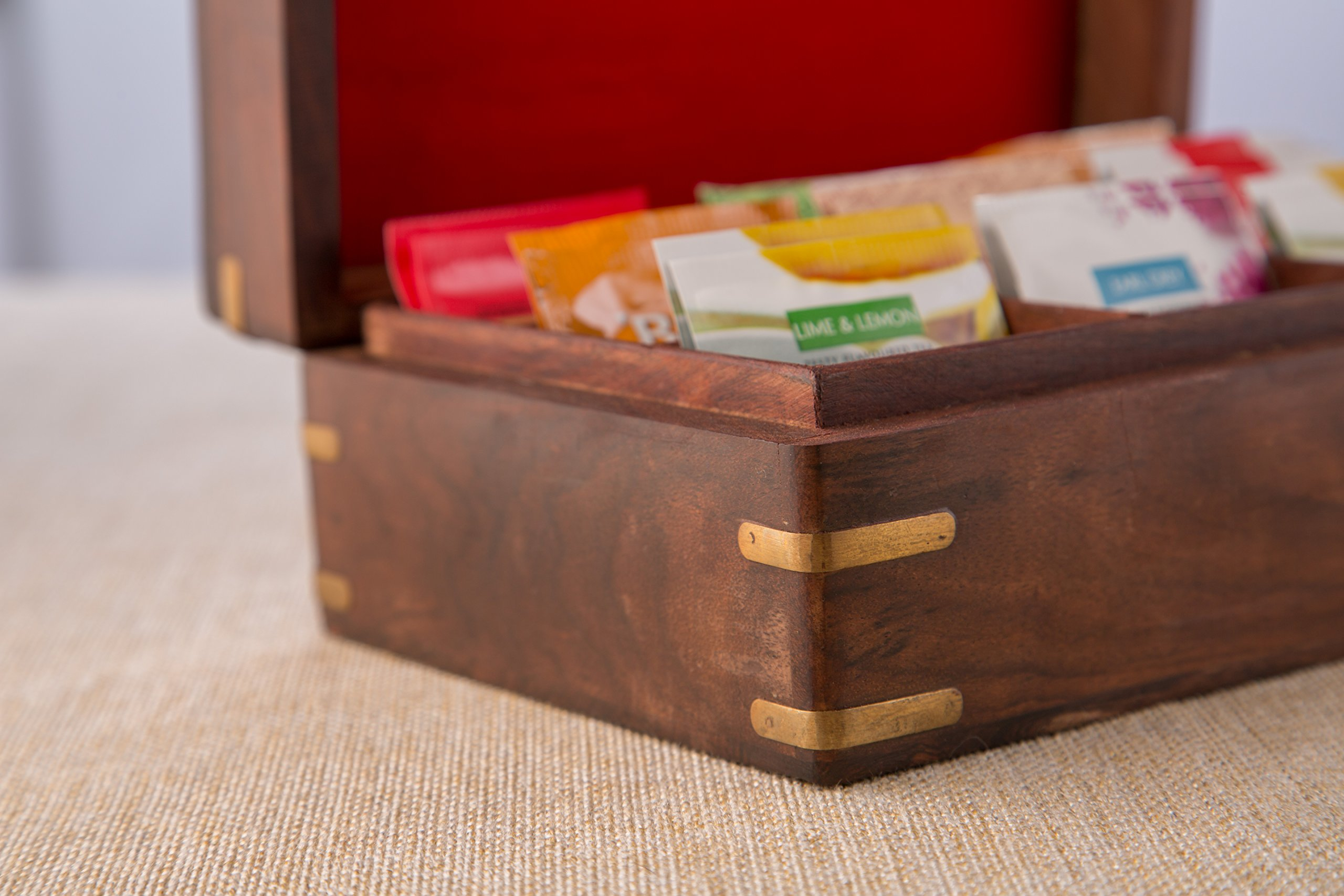 Rusticity Indian Rosewood Antique Treasure Storage Chest Box for Condiment Spice&Jewellery/Vintage Rustic Keepsake Trinket Organizer w/9 Compartments/Handmade Decorative Sheesham Wood Caddy Tea Bag by Rusticity (Image #2)