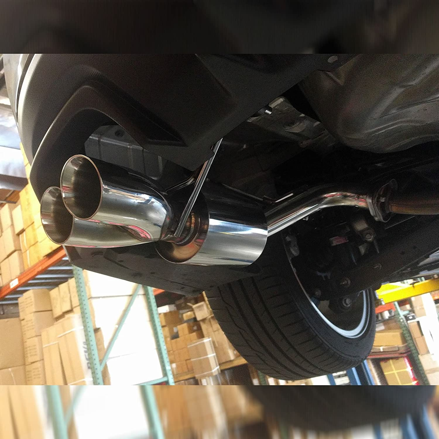 FlowMaxx Exhaust Kit 2.5 O.D compatible with Subaru WRX//WRX STI 2015+UP Axle Back CB-1525 Doubled Wall Tip Rev9 Pipe
