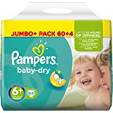 Pampers Baby-Dry Nappies Jumbo Pack - Size 6+, Pack of 64