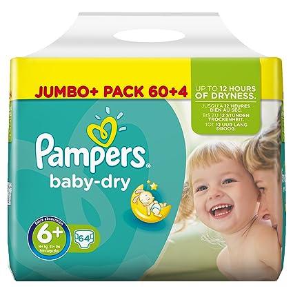 Pampers Baby Dry Pañales para Bebés, Talla 6+ (16+ kg) -