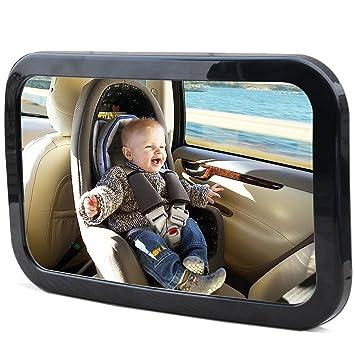 Espejo de carro para bebé Kingseye, 360, visión amplia de asiento trasero, espejo de seguridad para ...