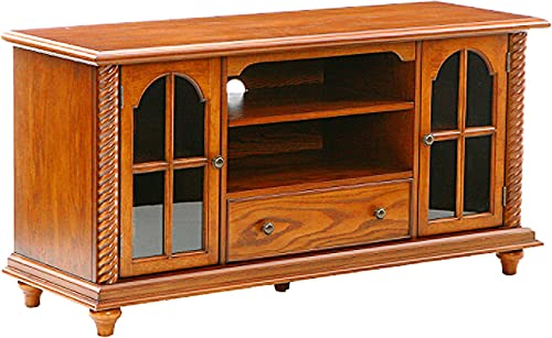Southern Enterprises 50 Television Stand – Windowpane Cabinets w Antique Oak Finish,
