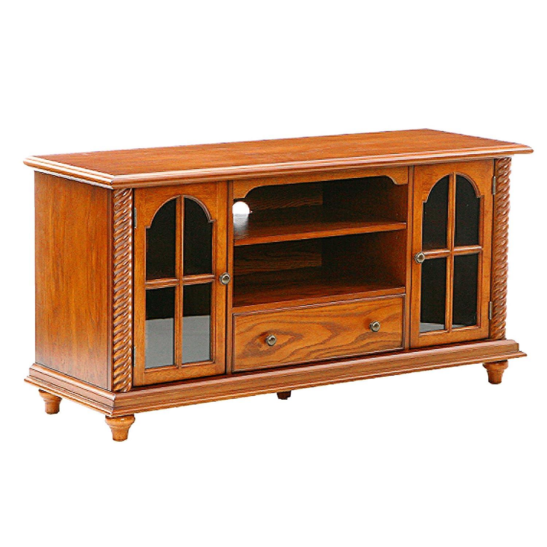 Southern Enterprises 50 Television Stand – Windowpane Cabinets w Antique Oak Finish,