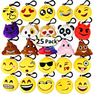 """Dreampark Emoji Keychain Mini Cute Plush Pillows, Christmas Key Chain Decorations, Kids Party Supplies Favors, Valentines Gifts 2"""" Set of 25"""