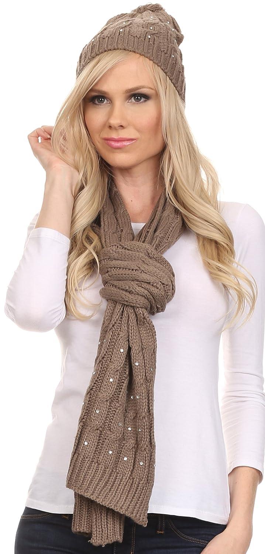 Sakkas Kae Jewel Studded Cable Knit Beanie Hat And Scarf Set 5055861857671