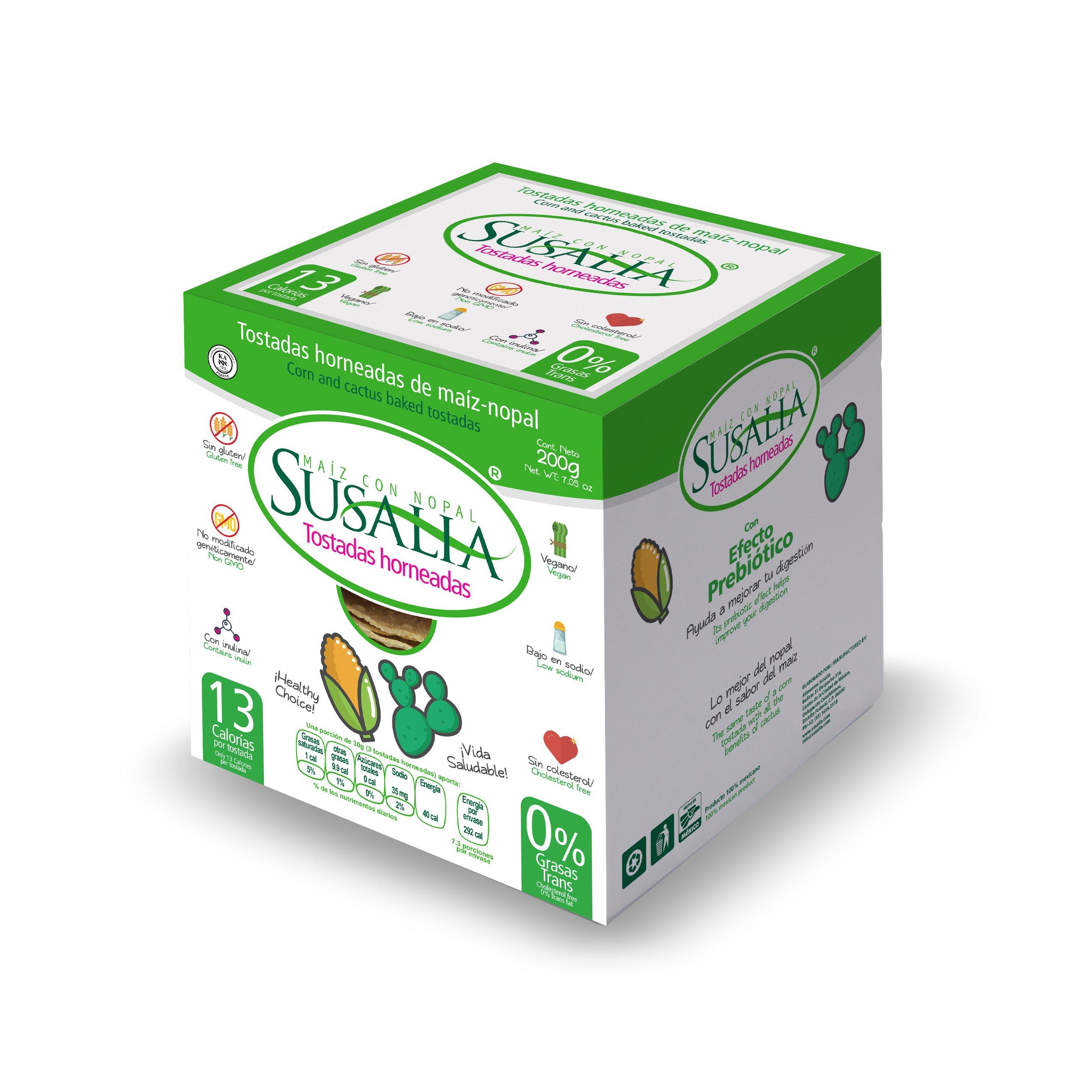 Corn and Cactus baked Tostada with prebiotic effect 13 Calories per Tostada VEGAN